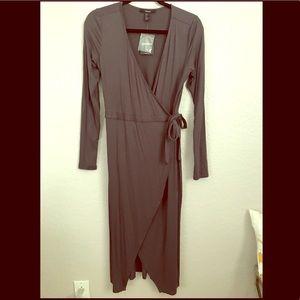Dark Grey Wrap Dress